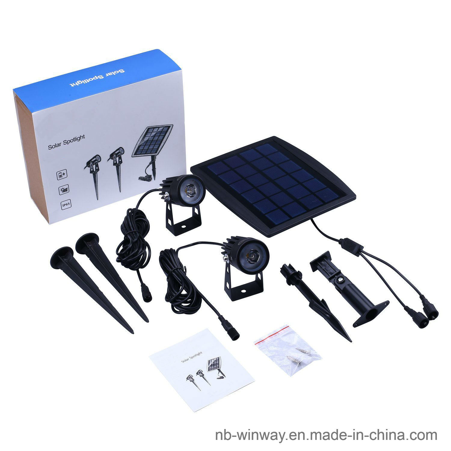 Solar Powered Twin Outdoor Spotlight for Garden