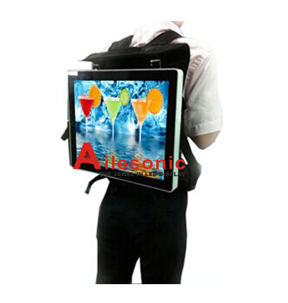 Backpack LCD Panel Advertising Viodeo Player with Bag LCD Panel Display Digital Signage