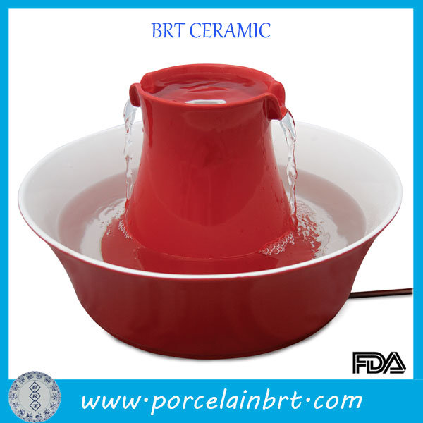 Red Round Ceramic Drinking Water Fountain for Pet