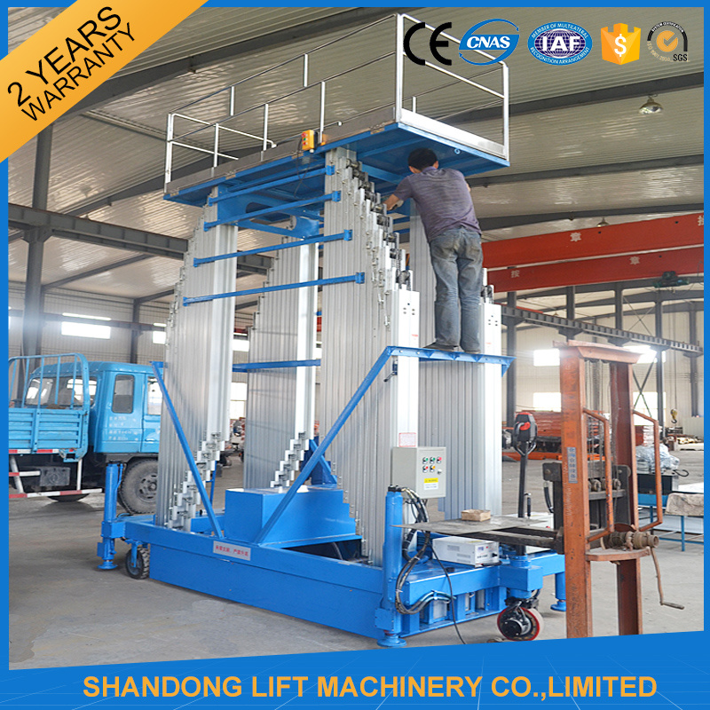 Electric Telescopic Vertical Hydraulic Man Lift Equipment Light Duty 6m 100kg