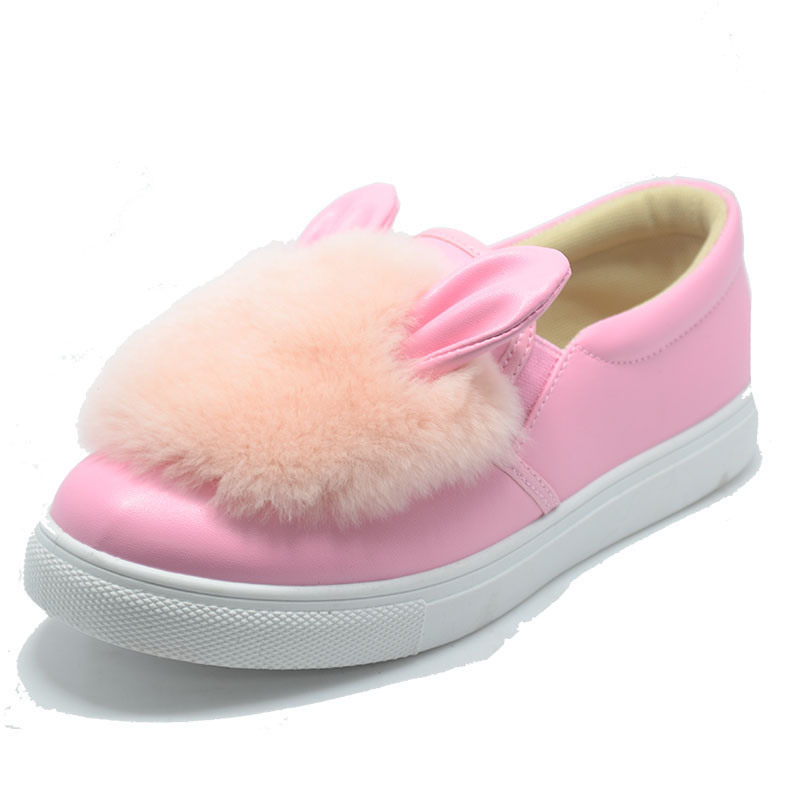 Rabbit Plush Rubber Injection Student Women Animal PU Shoes