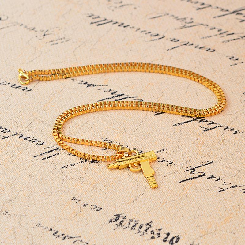 Hip Hop Necklace Uzi Gun Necklace Pendant with Chain Mens Uzi Pistol