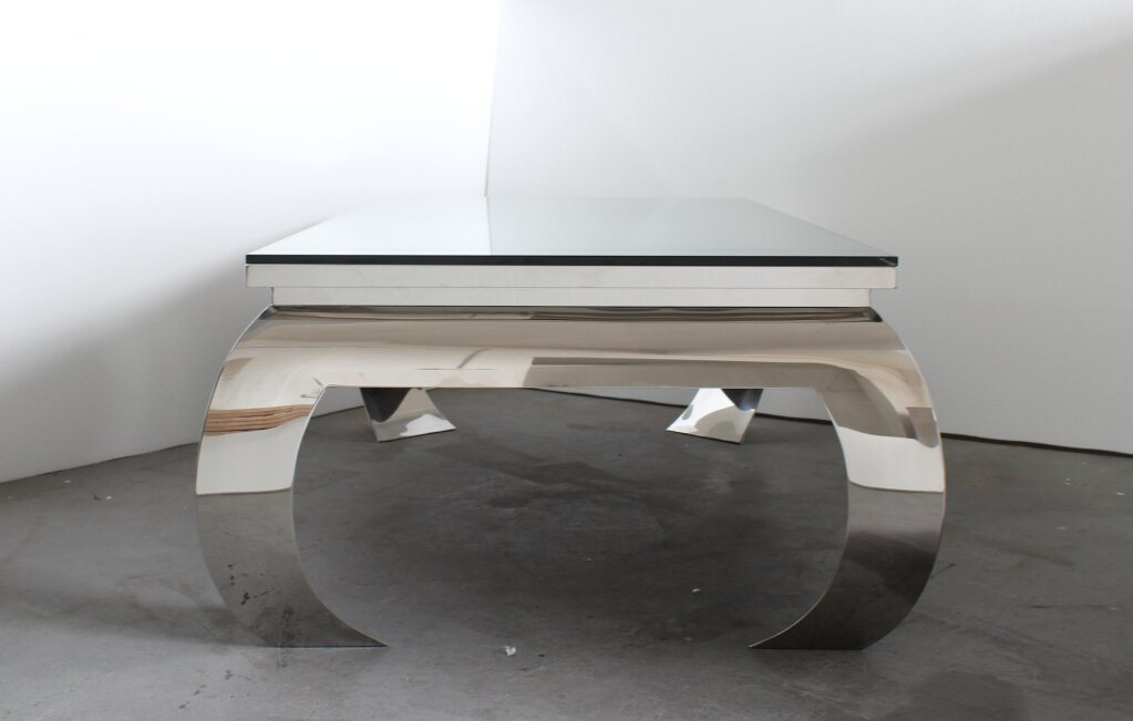Modern Glam Shiny Stainless Steel Glass Top Coffee Table, Luxury Coffee Table