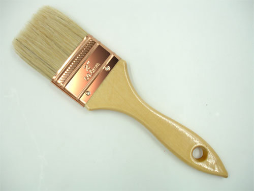 White Bristle Brush with Wooden Handle