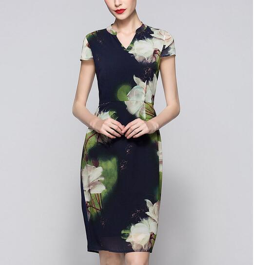 Summer Chinese Style Lotus Flower Print Elegant Women′s Dress