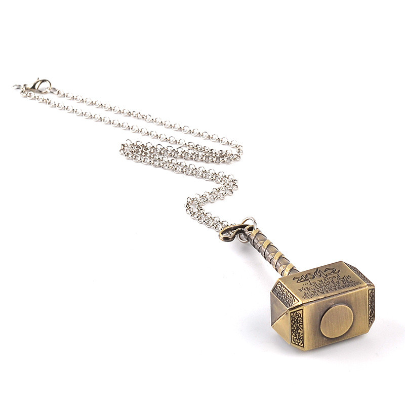 "Thor "" Loki′s Hammer "" Alloy ID Necklace Keychain Jewelry Metal Thor Hammer Pendant Movie Key Chain Jewelry"