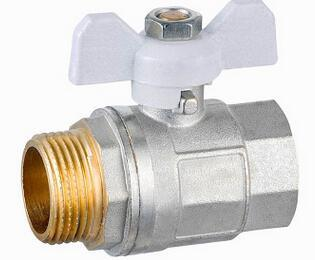 Nickel Plated PPR Handle Brass Butterfly Ball Valve