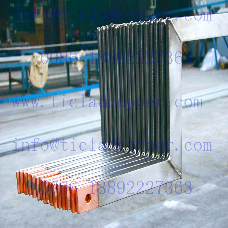 Precut Titanium Clad Copper Anode Hanger Bar Connector