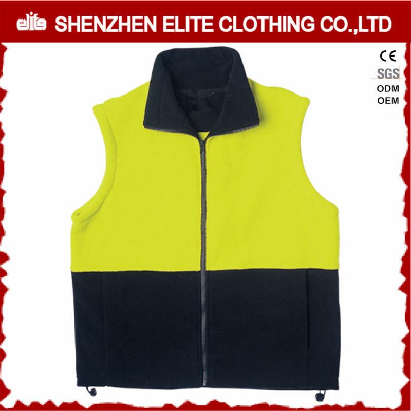Reflective Safety Yellow Navy Blue Polar Fleece Work Vest