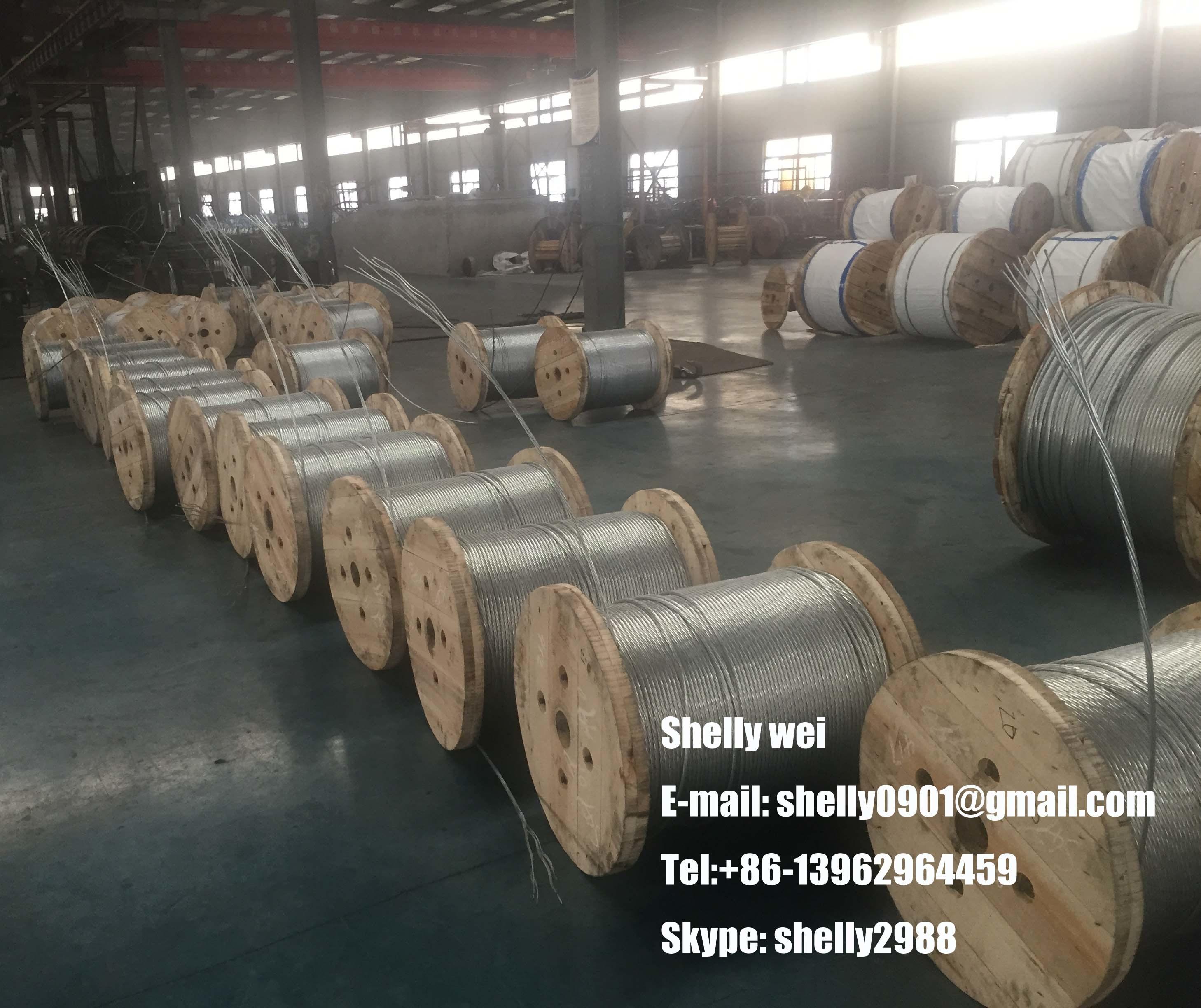 Ehs Galvanized Steel Wire Strand ASTM A475, ASTM a 363, ASTM B498, BS183 BS443, IEC, GB Standard