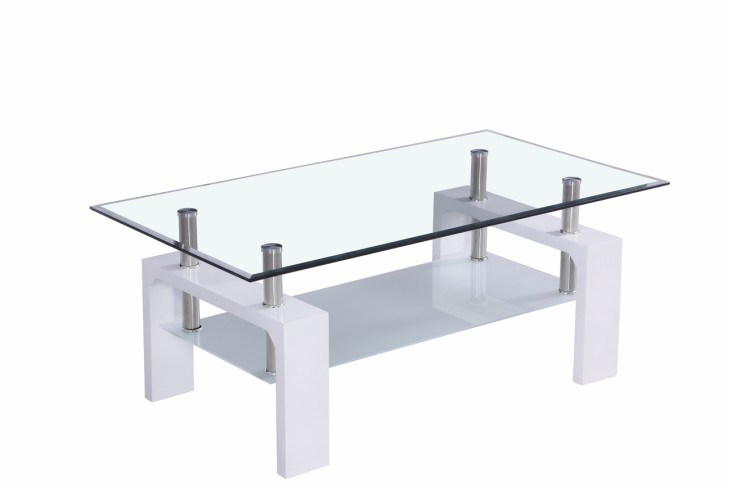 Modern High Gloss MDF Glass Coffee Table