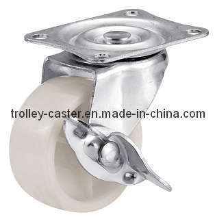 2 Inch White PP Caster Wheel with Side Brake