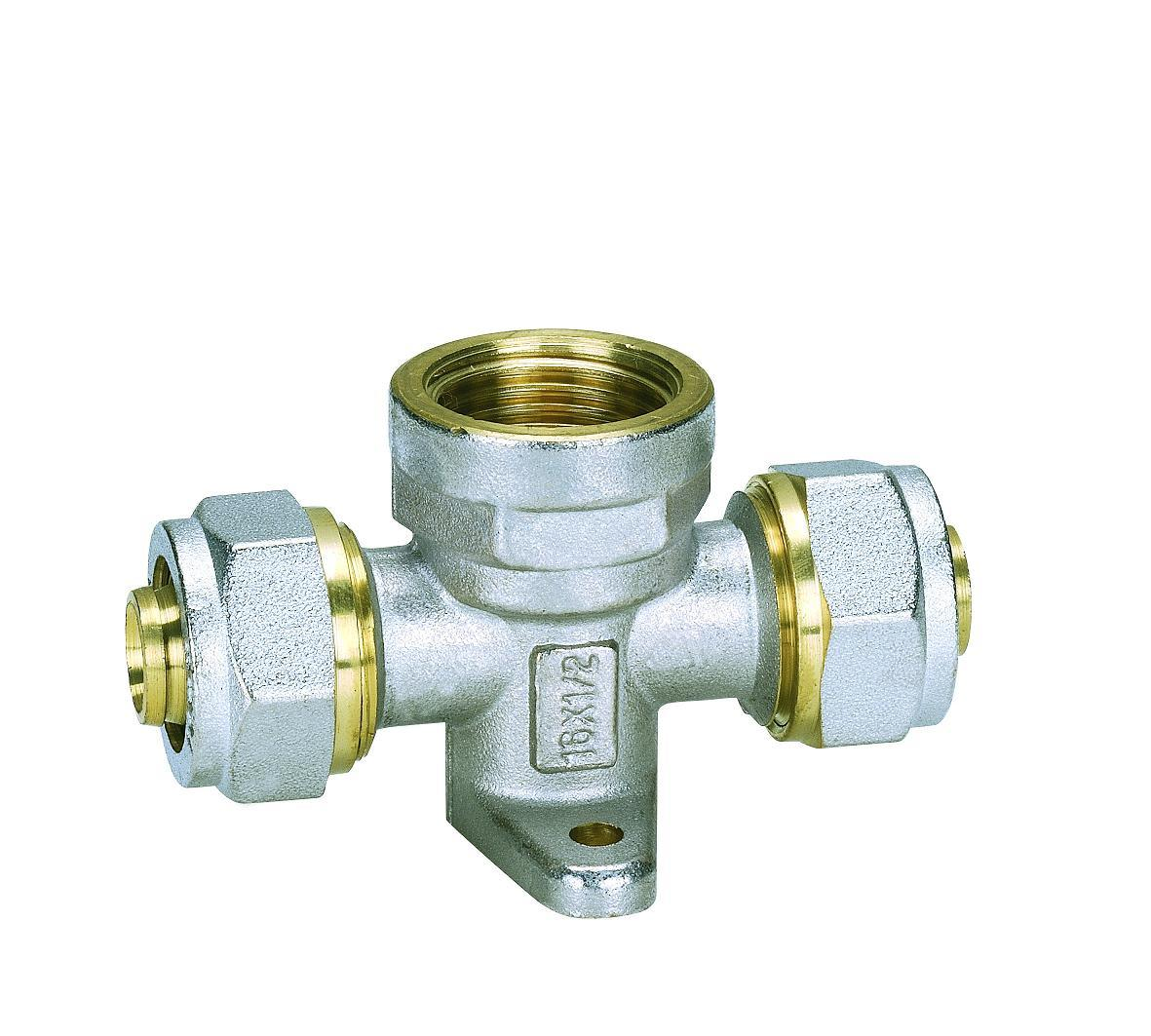 Female Tee with Wall-Plate (Hz8024) for Ktm Plastic Pipe Both Hot Water Pipe and Cold Water Pipe