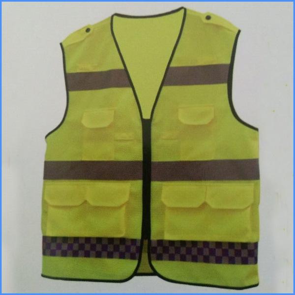 Hi-Vis String Reflective Safety Work Vest with Pockets