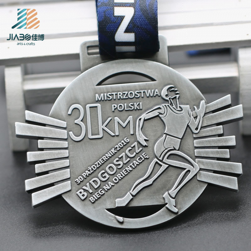 Antique Silver 30km Zinc Alloy Custom Marathon Running Medal