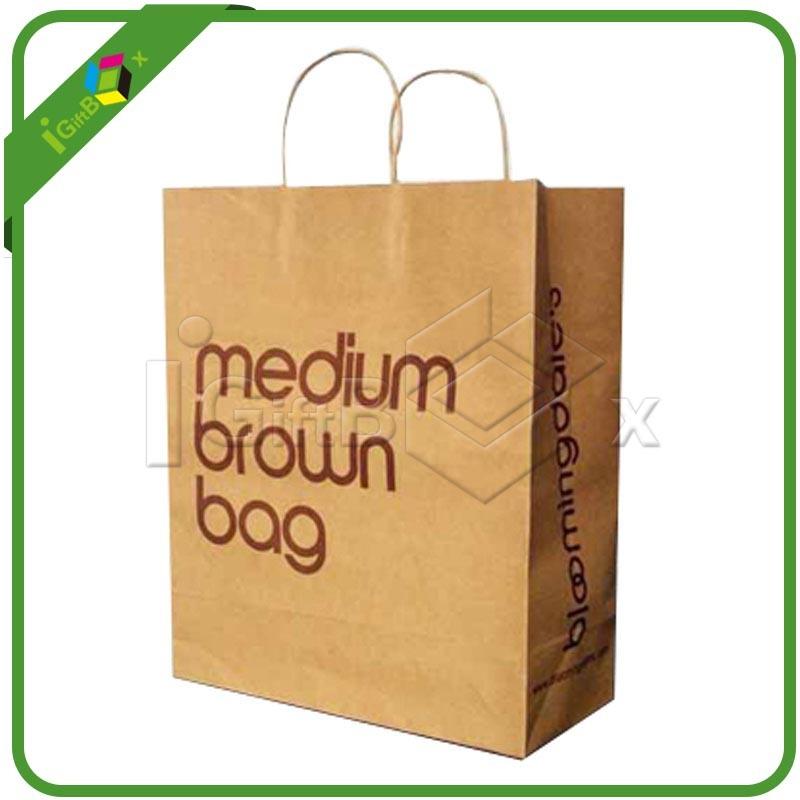 Custom Printed Craft Paper Bags for Resturant Packaging
