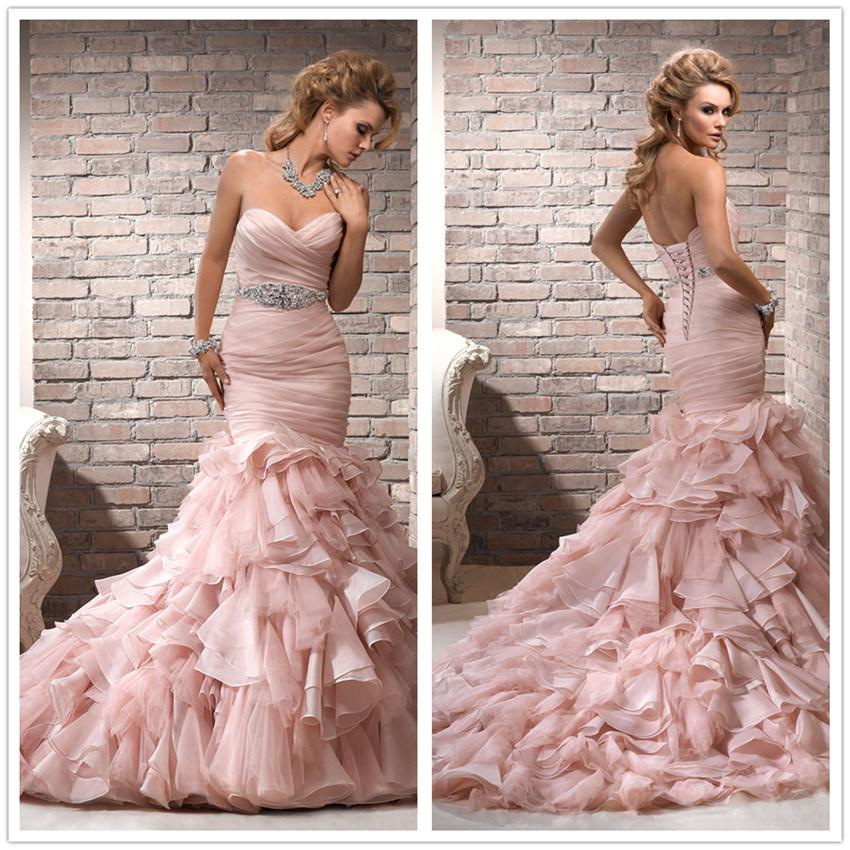 Bling Wedding Dresses Pink Pink Mermaid Wedding Dress