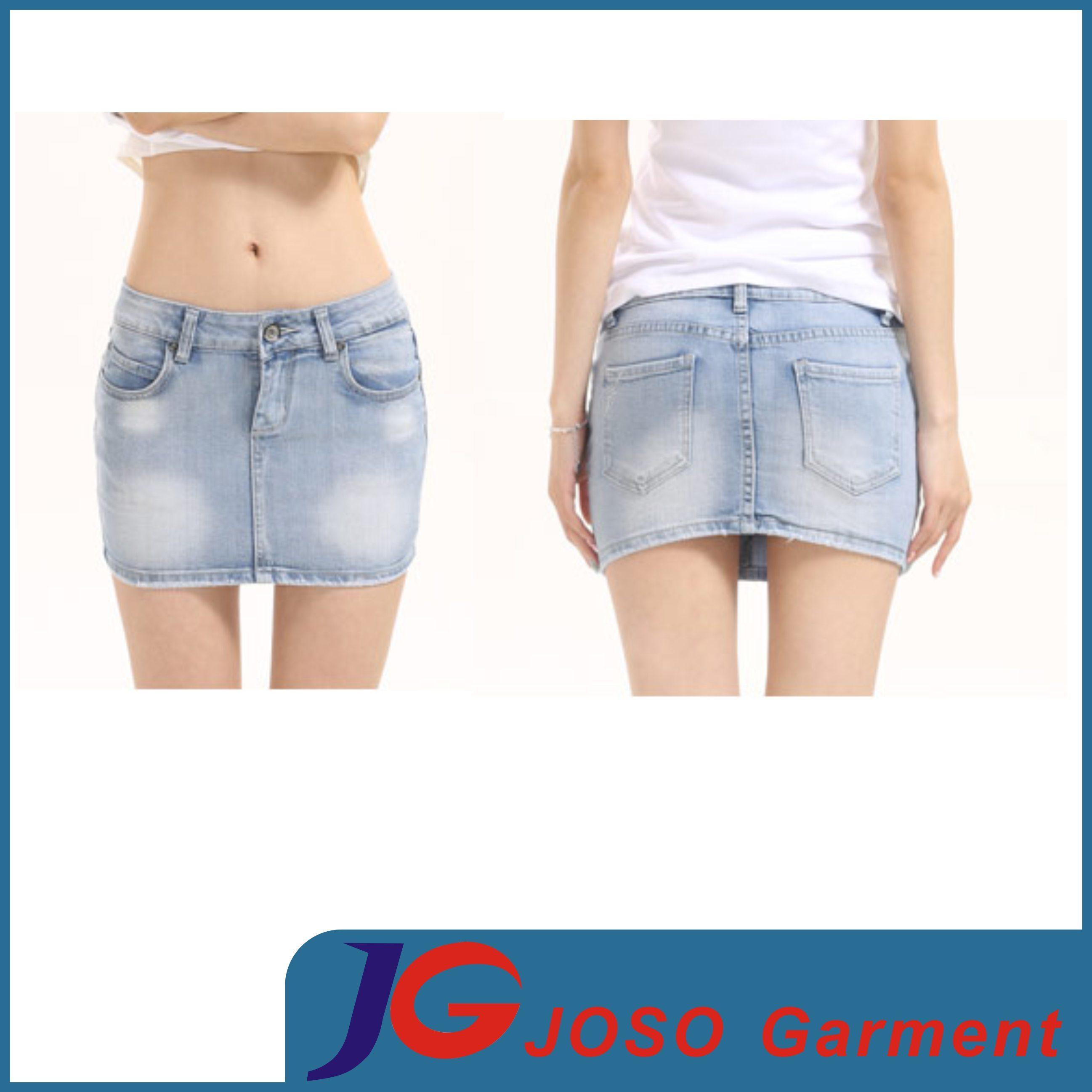 China Women Light Wash Frayed Denim Mini Skirt (JC2107) Photos ...