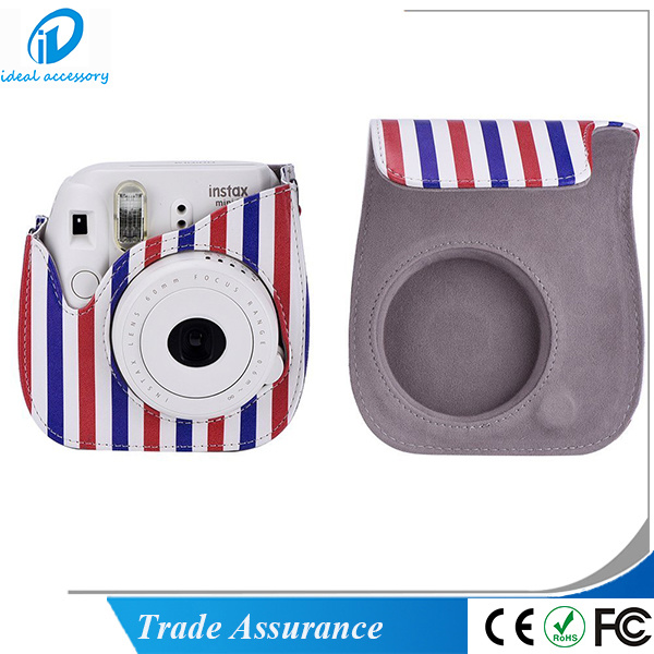 Fujifilm Instax Mini8 Plus Stripe Style PU Leather Mini8 Camera Case