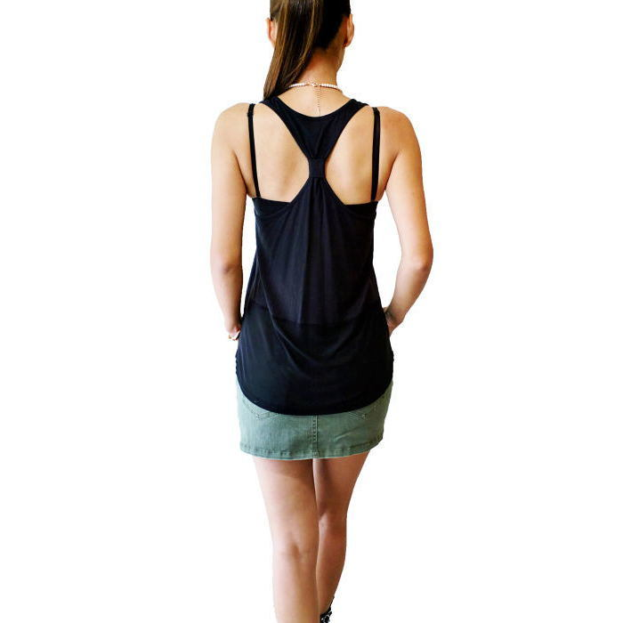 fashion Clothes Black Cotton Tank Top Women Fashion Garments