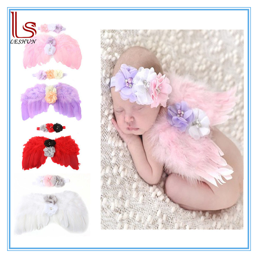 Baby Angel Wings Headband Feather Photo Props