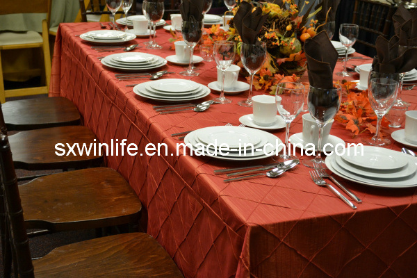 100%Polyester Popular Wedding Table Cloth Pintuck Design Table Cloth for Party&Banquet (WLTC003)