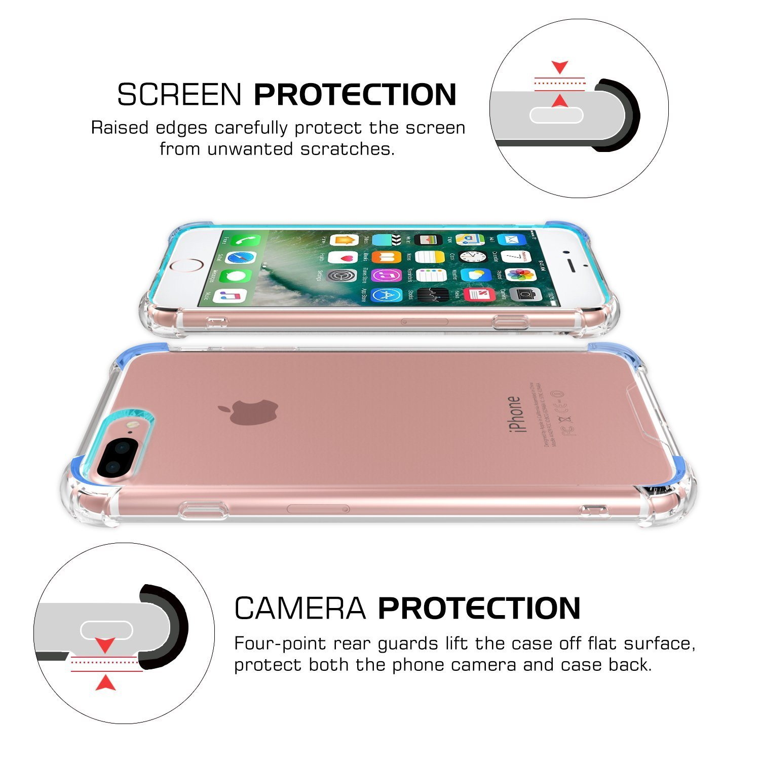 Crystal Clear Shock Absorption Technology Bumper Soft TPU Cover Case for iPhone 7 Plus 5.5-Inch