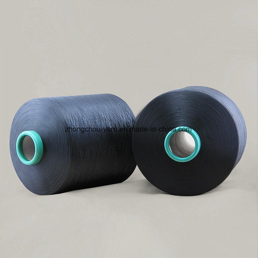 100% Polyester Dope Dyed Black Ddb 150d/48f Nim Yarn