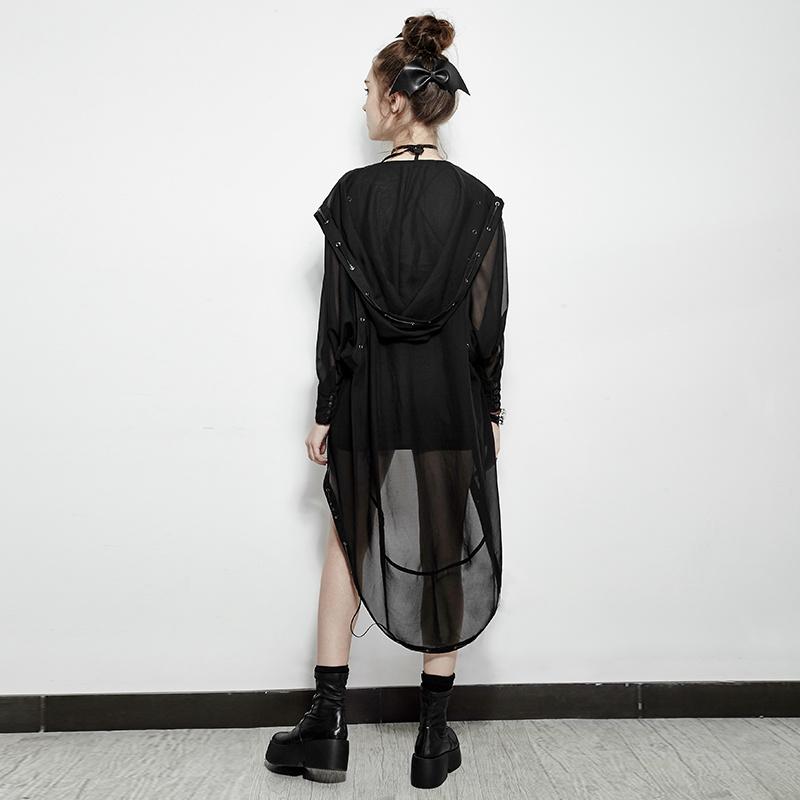 Py-187 Punk Asymmetric Chiffon Long Coat Suit for Halloween and Prevent Bask
