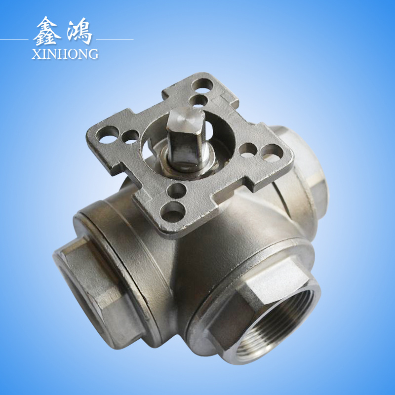 Stainless Steel Three-Way with Mounting Pad Ball Valve Dn15