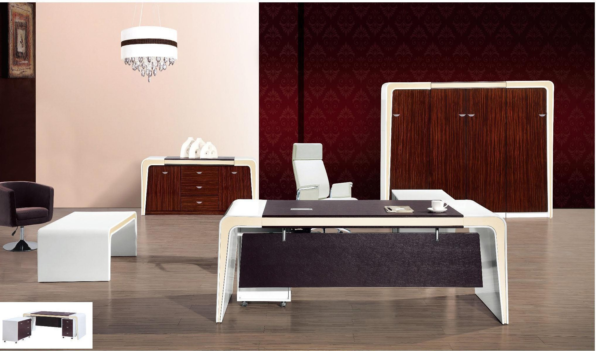 White Lacqure High Glossy Executive Table Wooden Office Furniture (HX-RD6511)