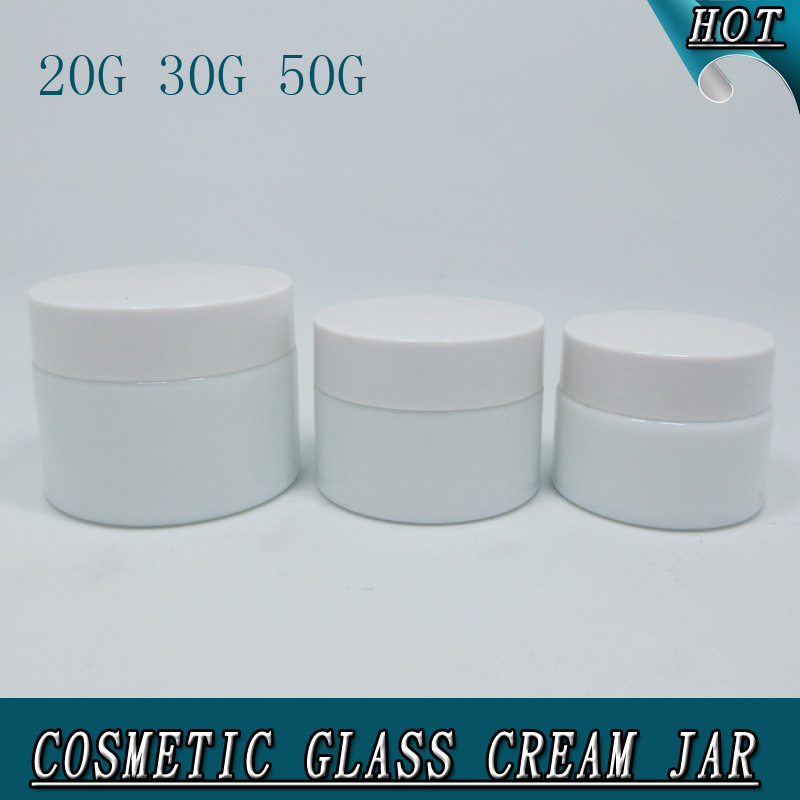 Luxury Cylinder Milk White Opal Glass Cosmetic Cream Jar