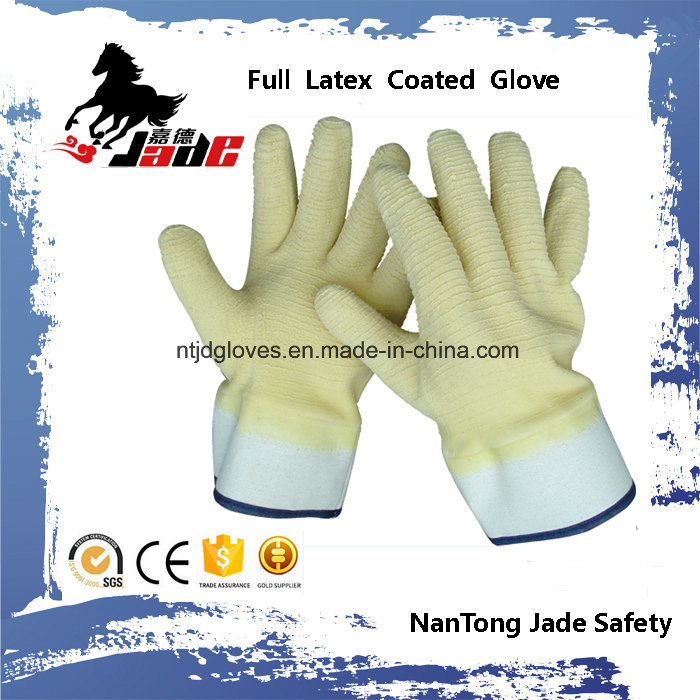 Cotton Liner with Fully Yellow Latex Crinkle Finished Safety Cuff Work Gloves