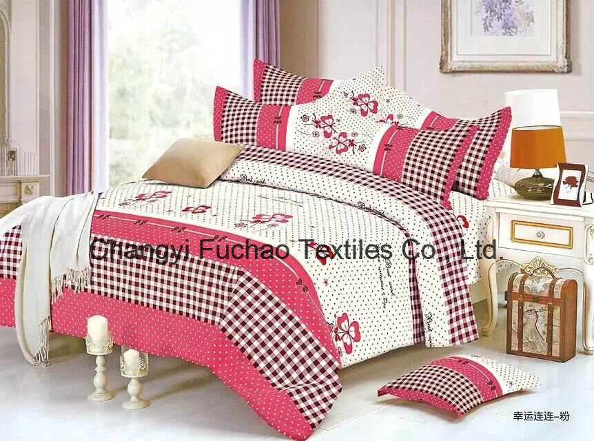 100% Polyester Microfiber Plain Dyed Cheap Bed Sheet Set Bedding Set