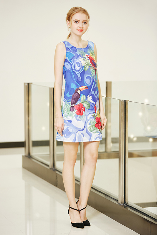 Sleeveless Ponte Shift Dress with Digital Placement Print Backless Strappy Dress