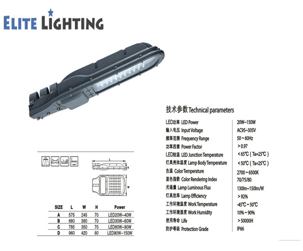 IP65 High Efficiency Bridgelux Chips LED Street Light with MW Driver