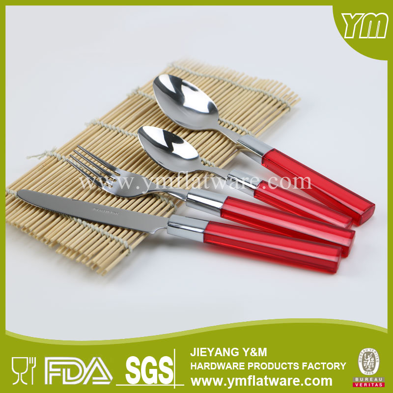 BSCI, LFGB, FDA, Coloured Plastic Handle Cutlery