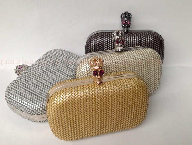 OEM Fashion PU Wrist Bag Handbag Wallet with Skull Decoration