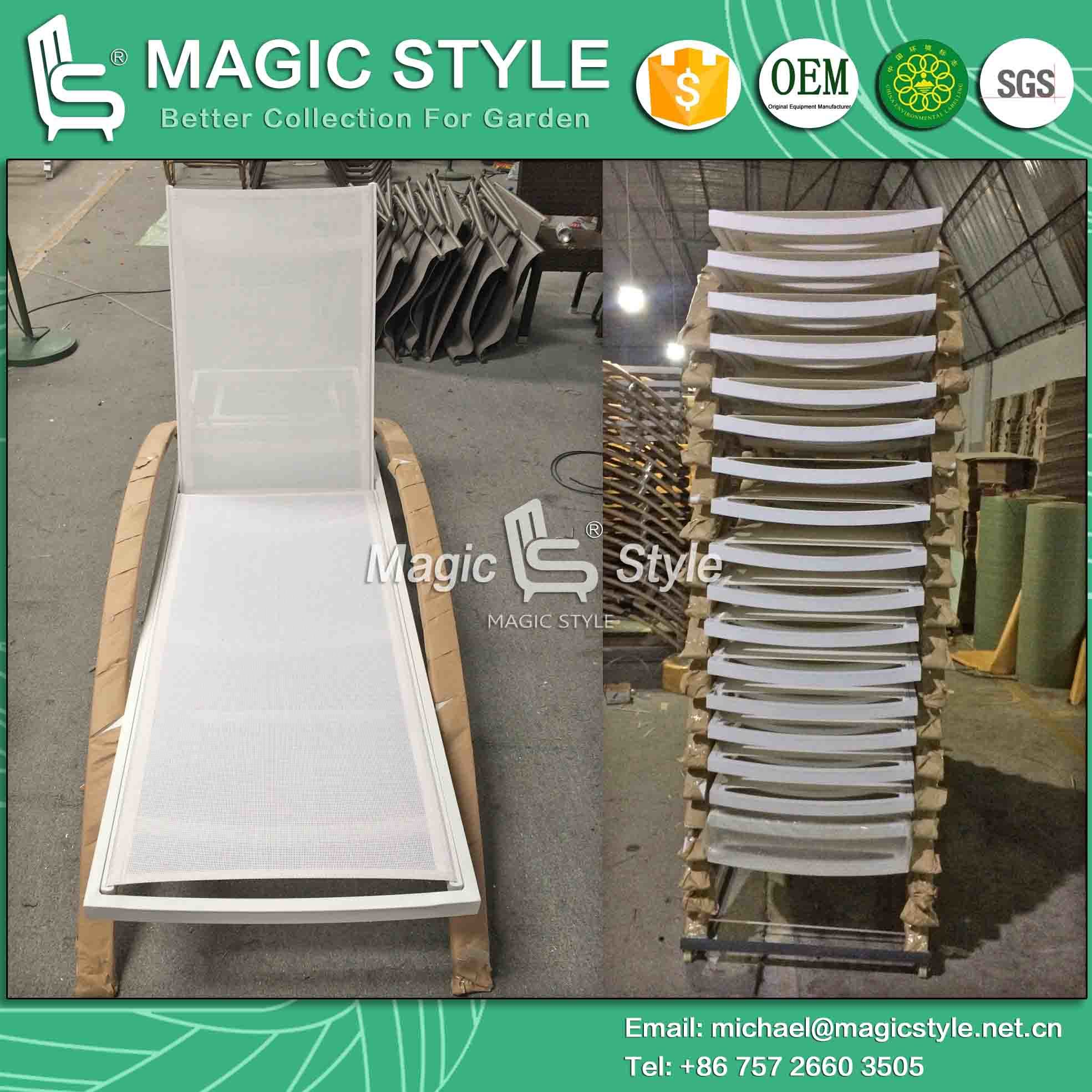 Sling Lounge Textile Sunbed Garden Sunlounger Sling Sunbed Outdoor Sun Bed Garden Daybed (Magic Style)