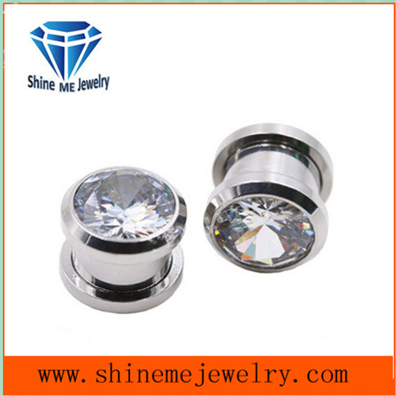 Fashion Single Zircon Body Piercing Ear Plug