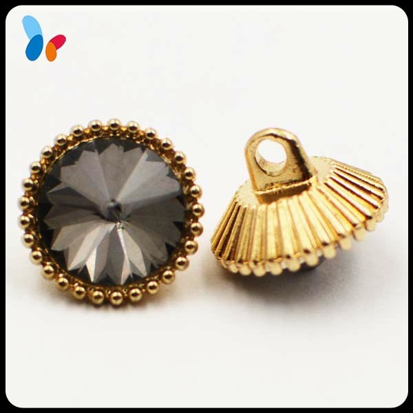 Rhinestone Decoration Metal Alloy Shank Button for Women Coat