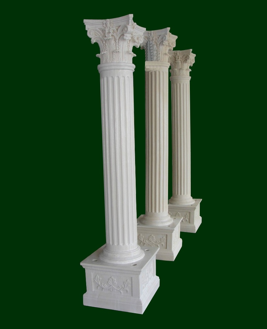 Classic Decorative Roman Fiberglass Columns Smooth Pillar Home Use