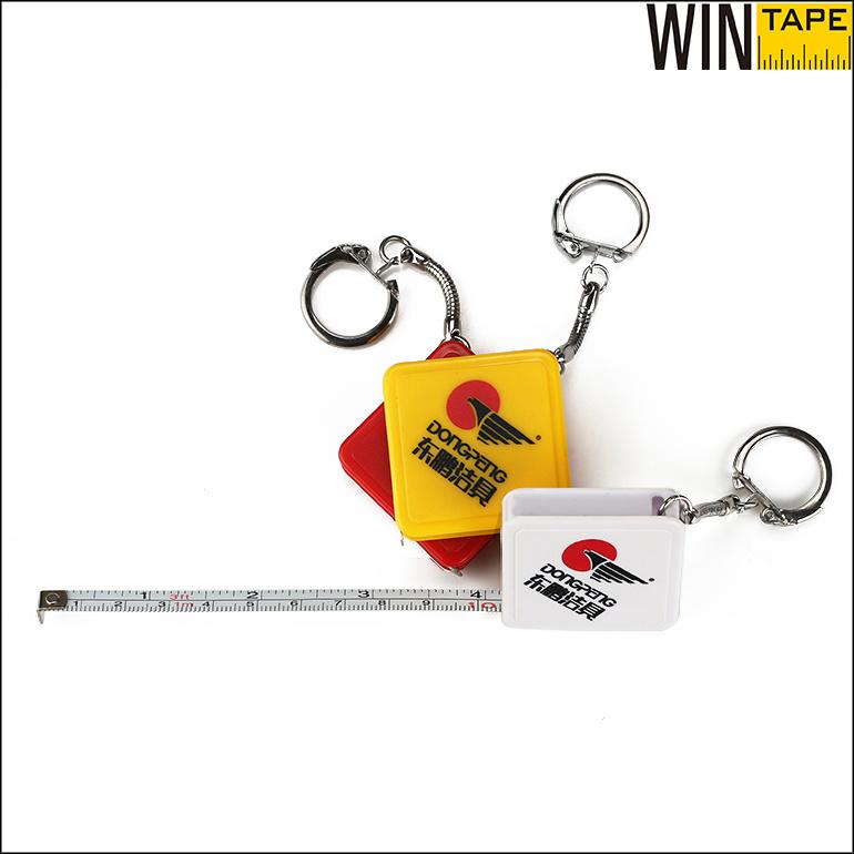 Square Shpe Custom Mini Steel Tape Measure with Key Chain (MST-026)