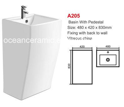 Pedestal Basin No. A205 White Rectangular Basin with Pedestal
