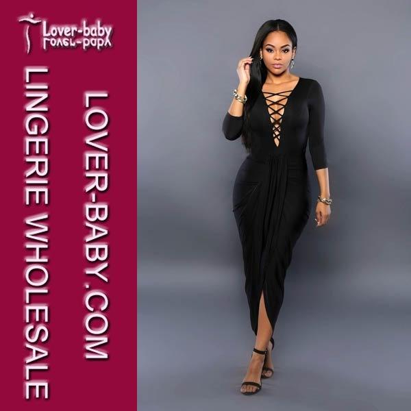 Trendy Black Dress Woman Sexy Evening Clothes (L51260-2)