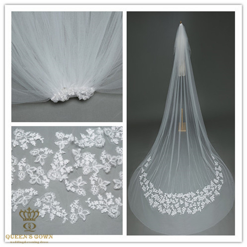 2015 New Lace Veil Bridal Veil Long Trailing Wedding