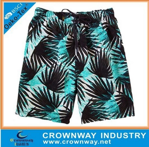 Men Sublimation Printing Custom Beach Shorts Board Shorts with 4 Way Stretch Fabric
