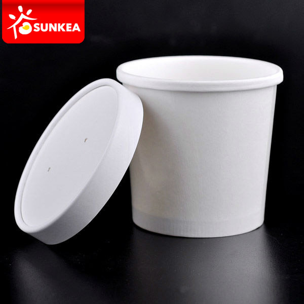 Disposable Logo Printed Kraft Paper Soup Bowl / Cup