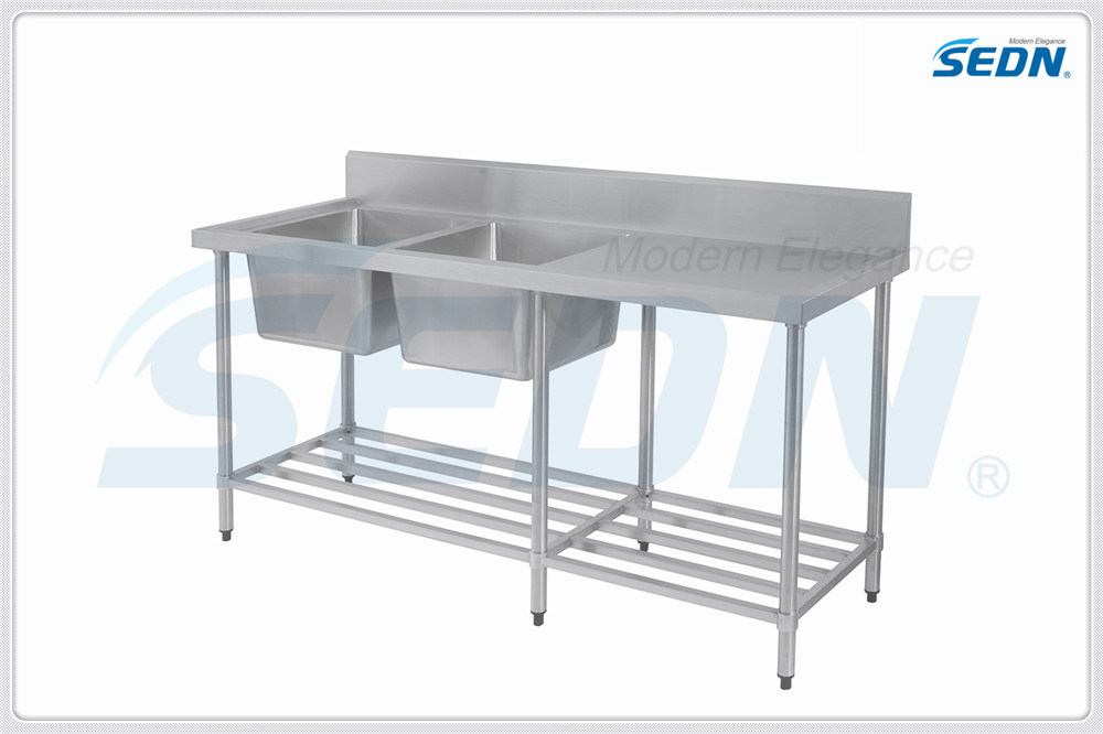 Handmade Commercial Stainless Steel Double Bowl Splashback Sink Benches (MF1010)