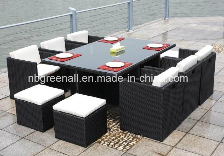 Outdoor/Indoor Rattan Cube Dining Table Garden Line Patio Furniture